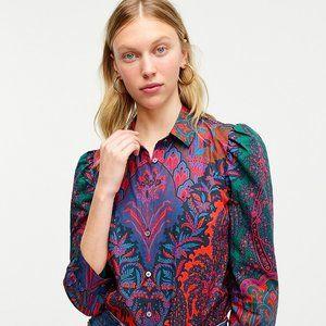 J CREW puff sleeve shirt Ratti Paisley print NWT